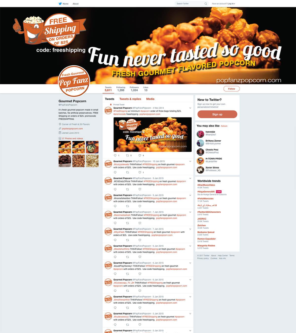 Twitter Page Pop Fanz Popcorn