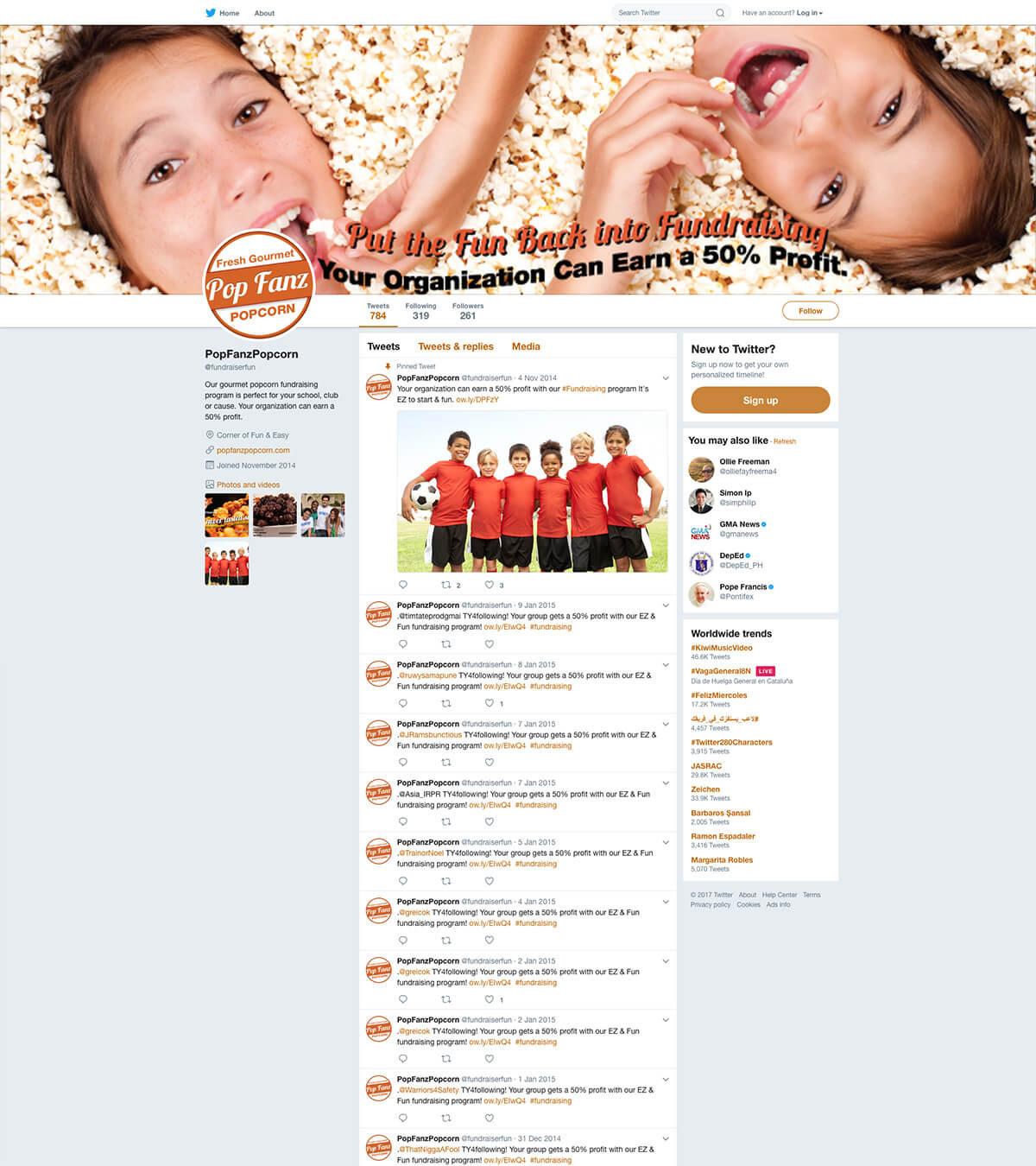 Twitter Page PopFanz Popcorn